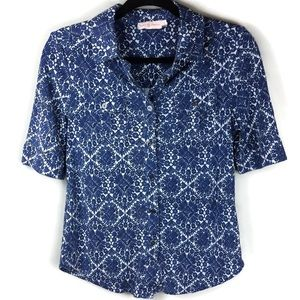 Tory Burch Silk Button Up Blue Printed Blouse Med